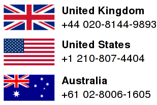 Phone numbers: UK: +44 020-8144-9893 ; US: +1 210-807-4404 ; Australia: +61 02-8006-1605